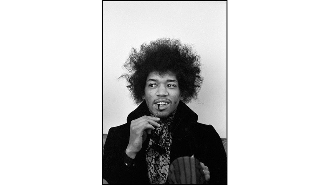 Linda McCartney, Jimi Hendrix, London, 1967,  black and white C-type print, 30.9 × 40.6 cm, courtesy the artist and Ballarat International Fotobiennale