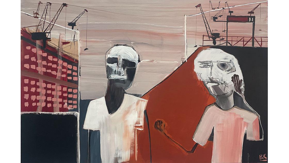 Wallumatta Wanderer, 2021, acrylic and graphite on board, 120 x 180cm, courtesy The Wellington Gallery
