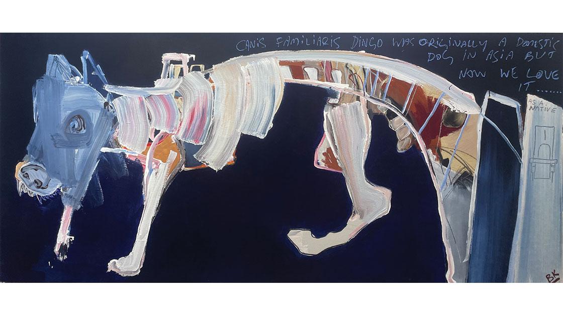A Dingo Stole My Bridge, 2021, acrylic and oil pastel on board 90 x 200cm, courtesy The Wellington Gallery