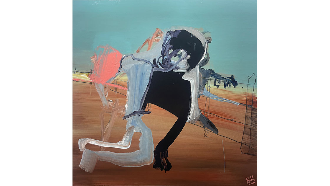 The Trouble With Fences 2, 2021, acrylic and graphite on board 122 x 122cm, courtesy The Wellington Gallery