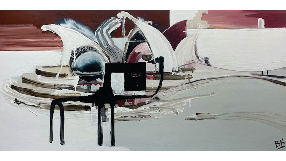 Opera House Variation, 2021, acrylic and graphite on board, 60 x 122cm, courtesy The Wellington Gallery