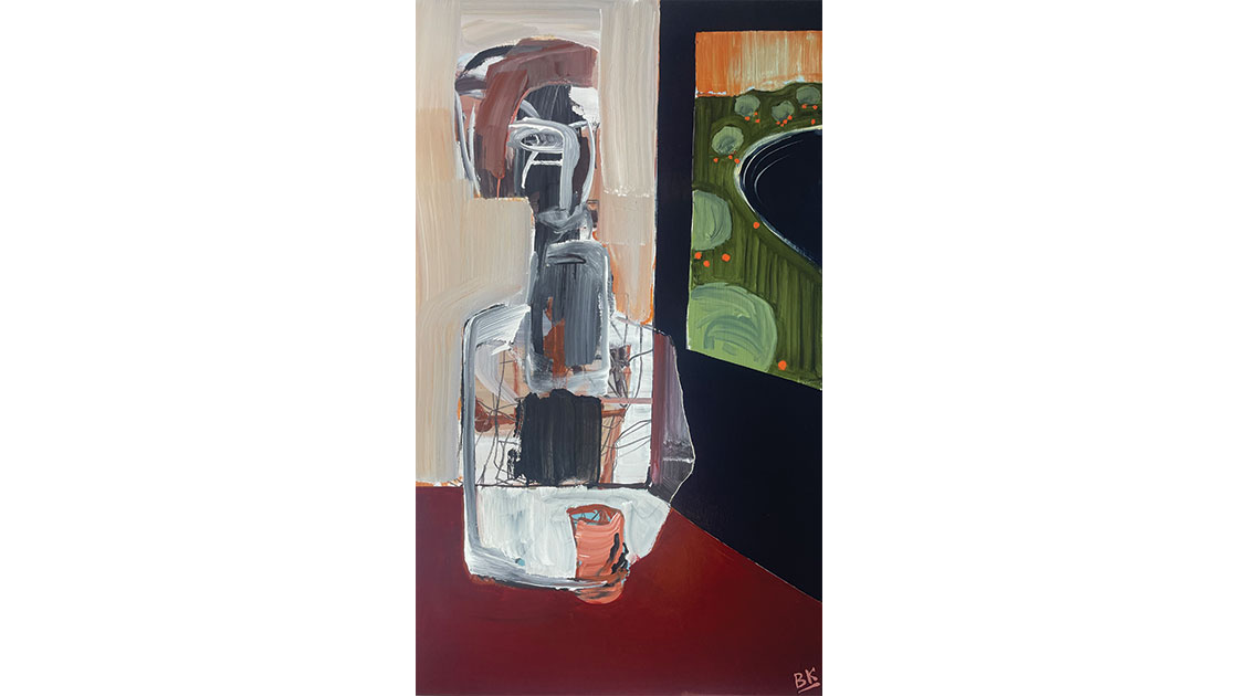 The Malting Shovel - Drinking The Farm, 2021, acrylic and graphite on board, 152 x 90cm, courtesy The Wellington Gallery