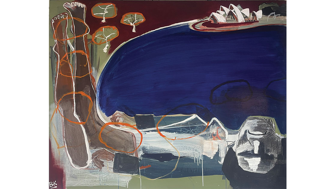 Bennelong - Under Squires Orchard, 2021, acrylic and graphite on board 124 x 154cm, courtesy The Wellington Gallery