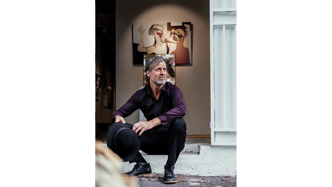 Brendan Kelly photographed in his studio, photographed by Jack E. Phillips, courtesy  The Wellington Gallery