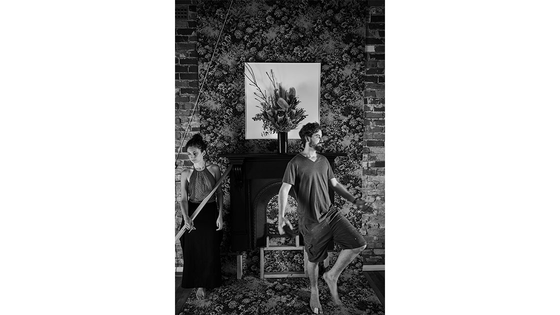 """Joe Wilson and Chanelle Collier with """"Still Life and Painting,"""" work in progress, 2018, photographed by Robin Hearfield"""