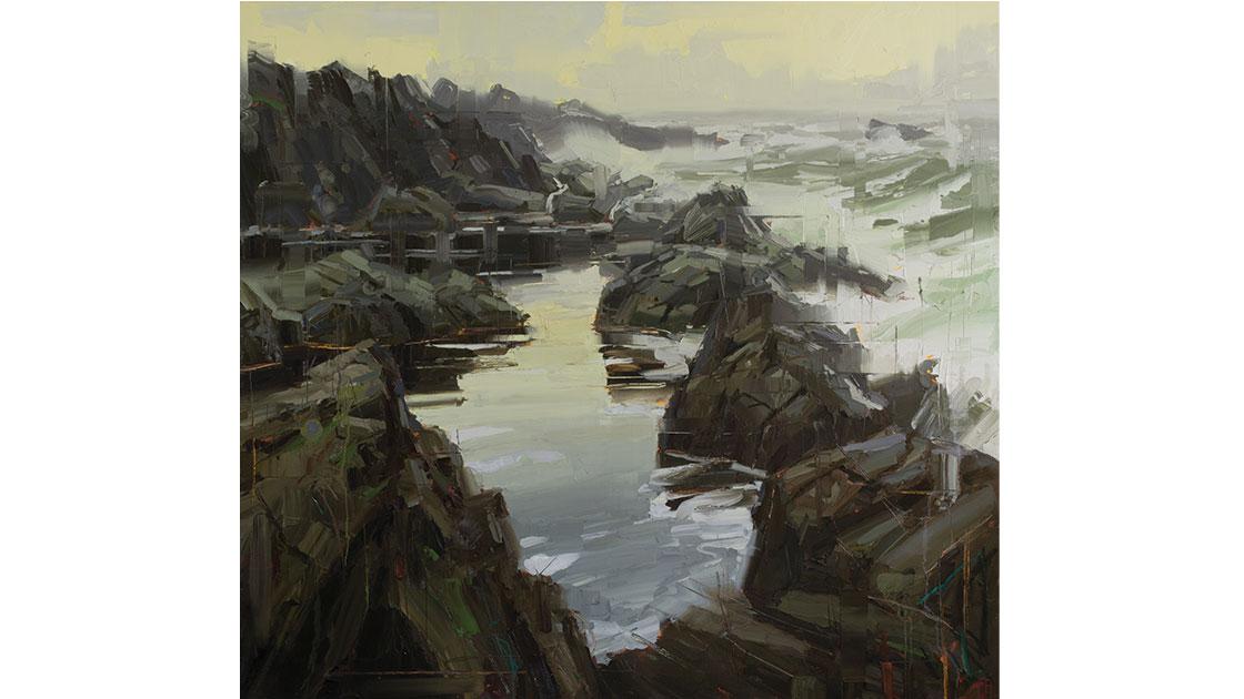 """Rock Pool – First Light,"" oil on linen, 170 x 185.5 cm (framed), courtesy Arthouse Gallery"