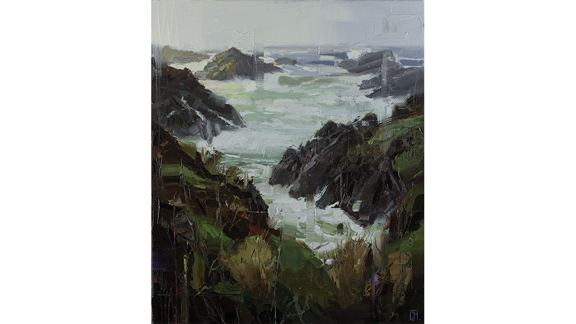 """""""The Weathered Cove,"""" oil on linen, 68.5 x 58 cm (framed), courtesy Arthouse Gallery"""