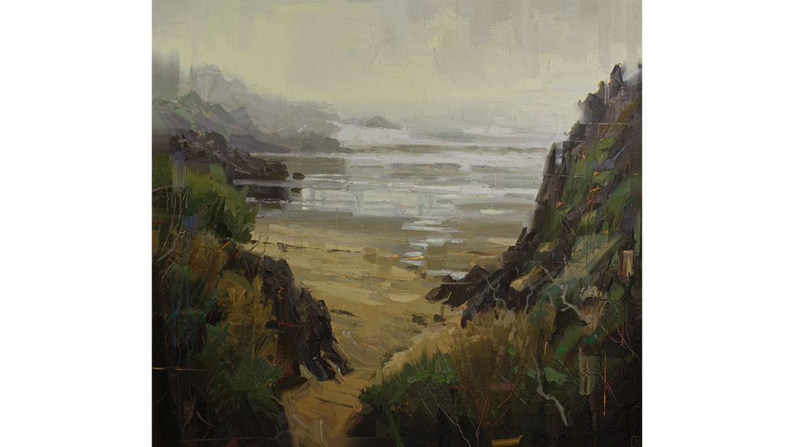 """The Concealed Beach,"" oil on linen, 170 x 185.5 cm (framed), courtesy Arthouse Gallery"