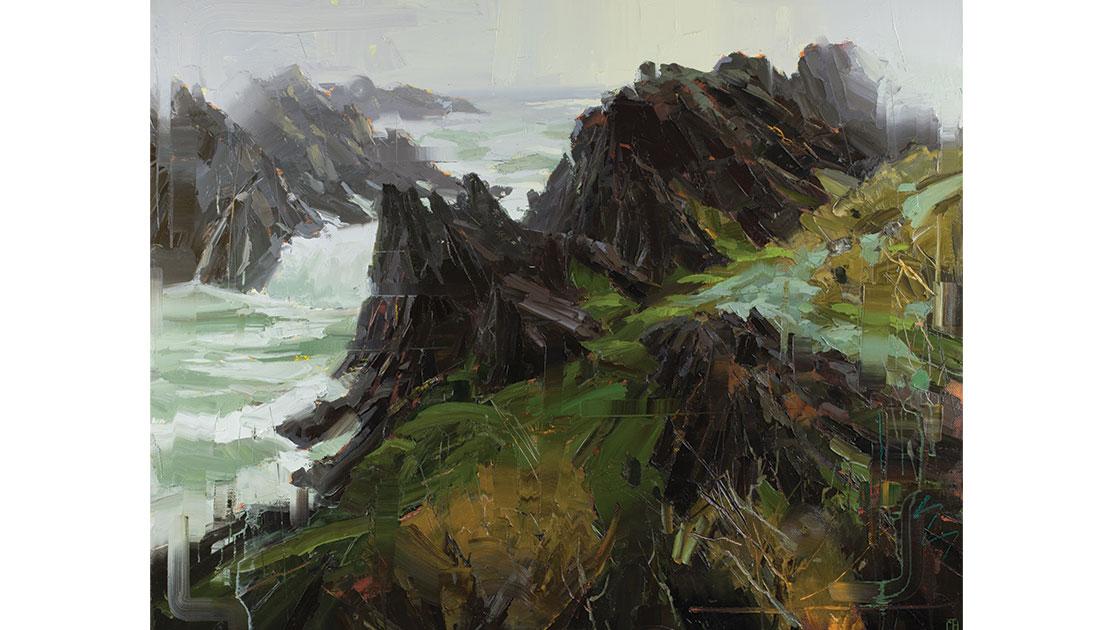 """""""Rhythmic Pulse,"""" oil on linen, 124 x 155 cm (framed), courtesy Arthouse Gallery"""