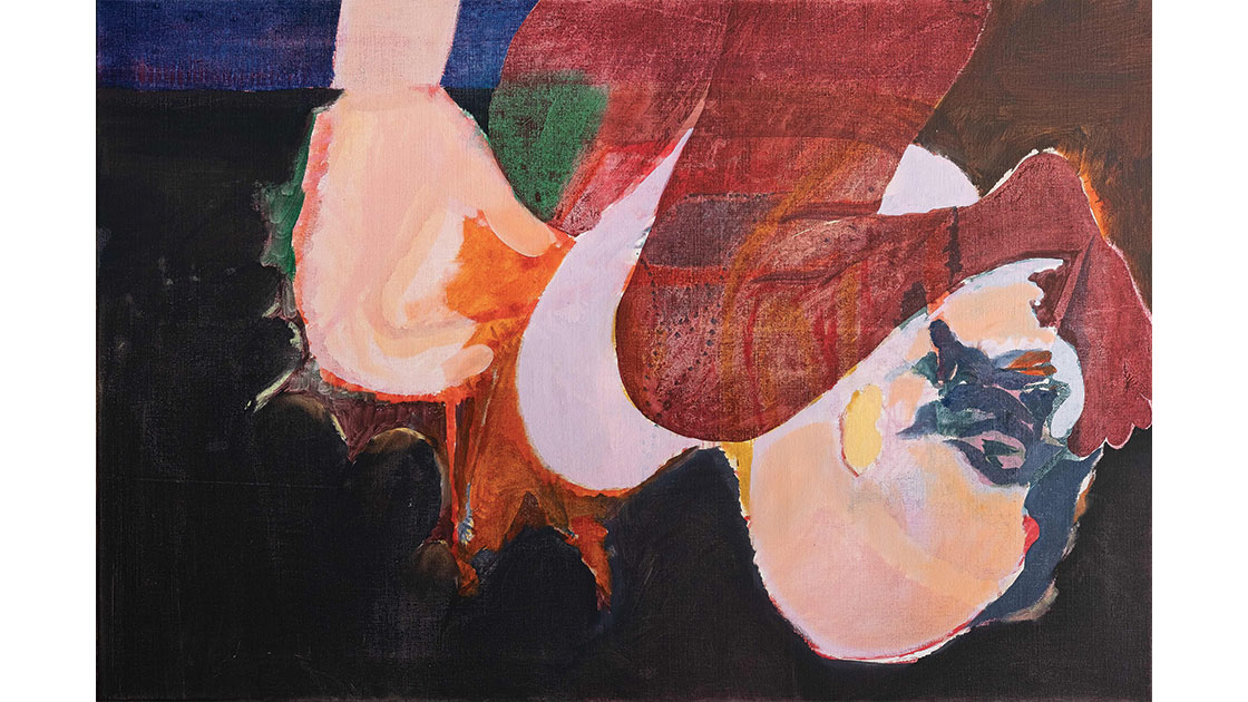 """""""Knees and Toes,"""" 2020, oil on mixed fibres, 60 x 90 cm, courtesy the artist and Chalk Horse"""