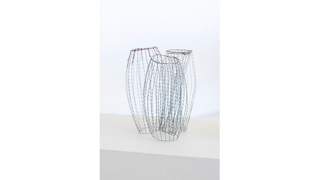 "Alison Coates, ""Porifera,"" 2021, galvanised wire and copper ribbon, 15 x 12 x 11 cm, courtesy Defiance Gallery"