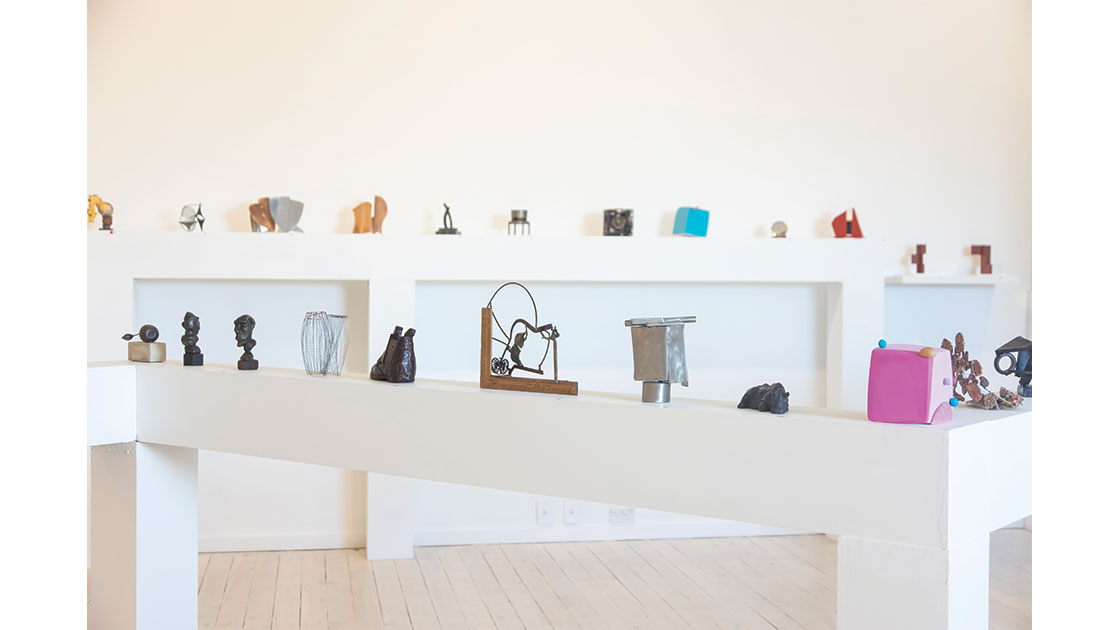 """""""6x6x6 inch Miniature Sculpture Show,"""" installation view at Defiance Gallery 2021"""