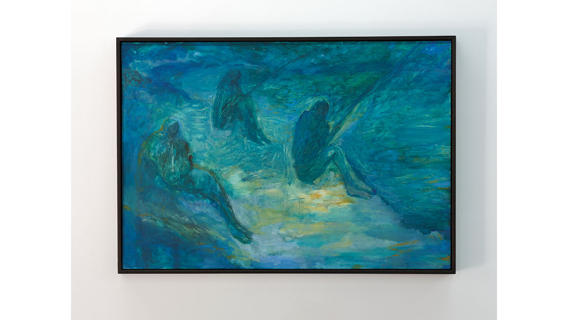 """Star Gossage, """"Beside the Sea, Our Pakiri,"""" 2017, oil on board, 550 x 800 mm, courtesy Tim Melville Gallery"""