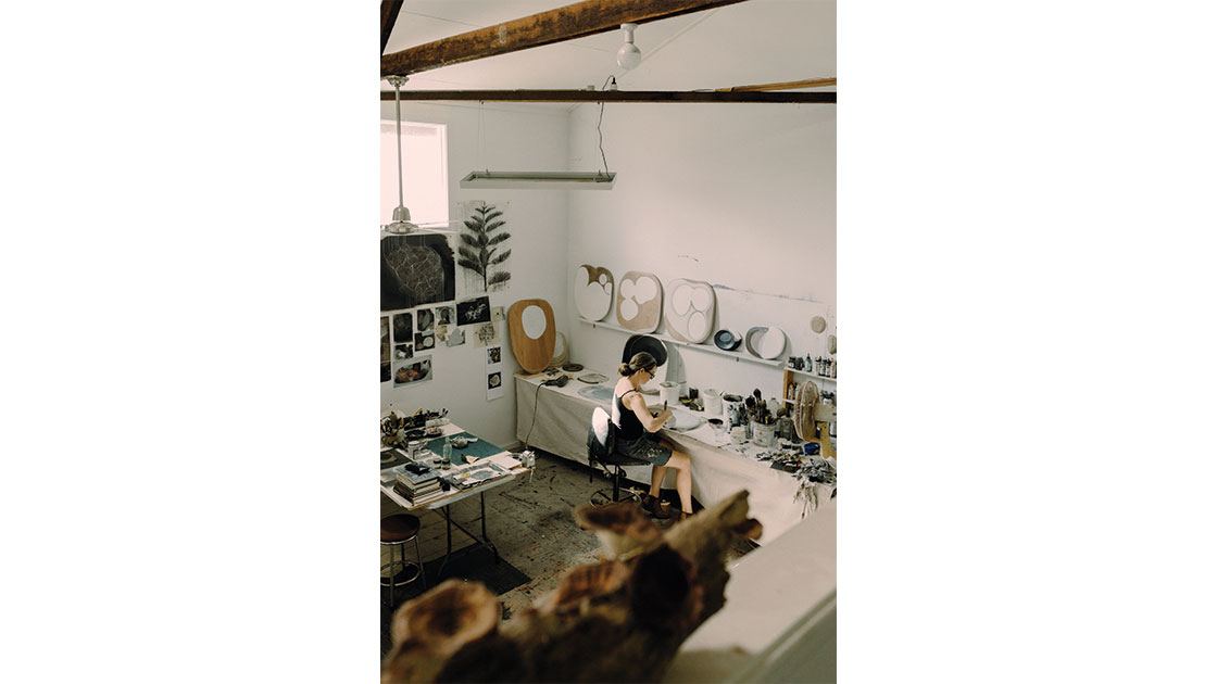 Walker photographed in her studio by Lisa Sorgini, courtesy the artist and Arthouse Gallery
