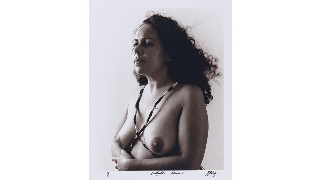 Badtjala Woman (crossed string), 1994, gelatin silver print, 45.5 x 35.5 cm, courtesy the artist and Andrew Baker Art Dealer, Brisbane