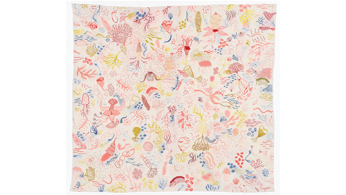 Imaginary Science, 2021, dye and embroidery on linen, 136 x 146 cm, courtesy the artist , photographed by Matthew Stanton