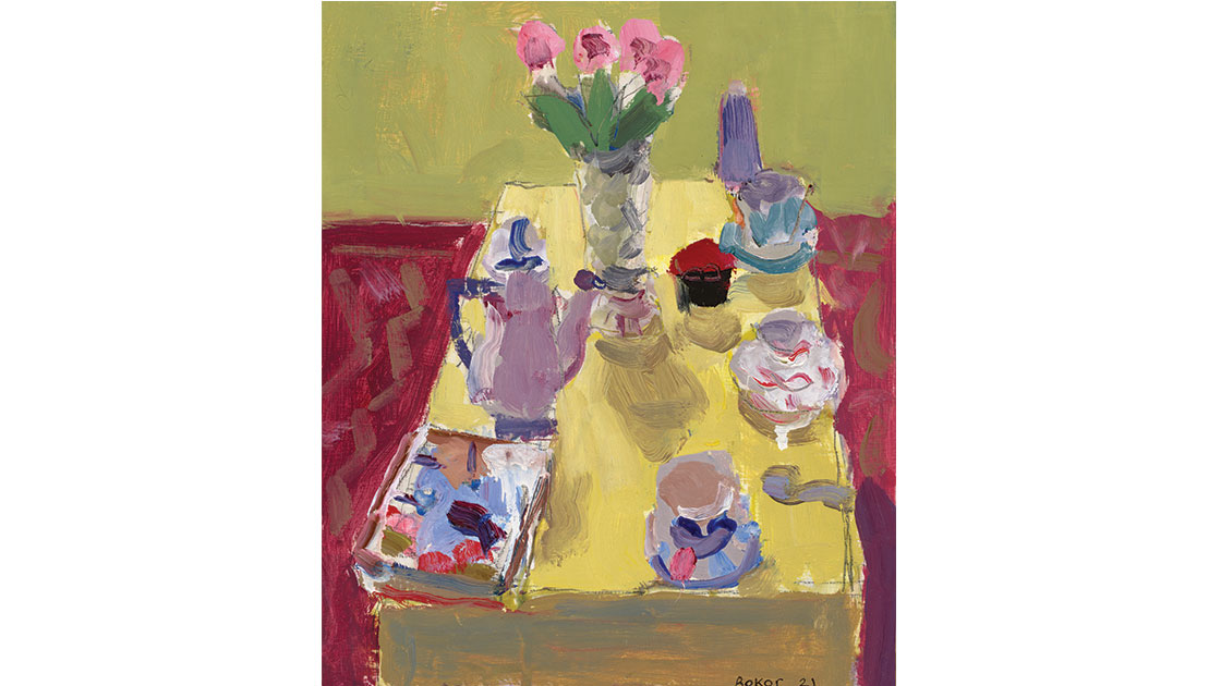 Vase of roses, 2021, oil on board, 30 x 25 cm, courtesy the artist and Nicholas Thompson Gallery