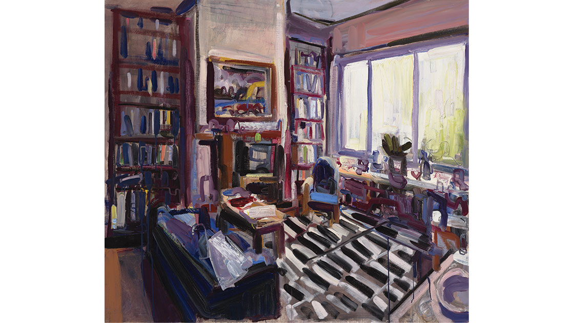 Hendrik and Julianna's sitting room, 2014, oil on linen, 137 x 152 cm, courtesy the artist and Nicholas Thompson Gallery