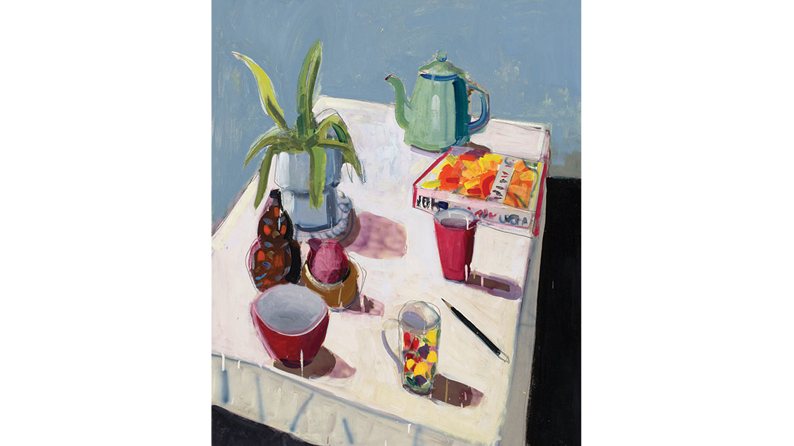 Green teapot, 2021, oil on board, 122 x 100 cm, courtesy the artist and Nicholas Thompson Gallery
