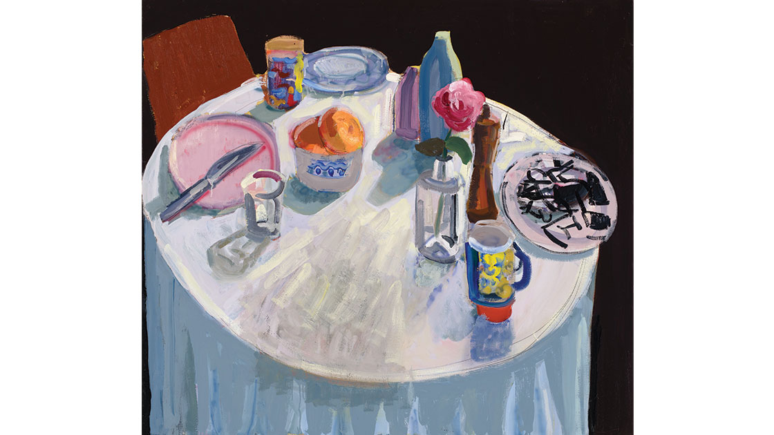 Two mandarins, 2021, oil on linen, 122 x 137 cm, courtesy the artist and Nicholas Thompson Gallery