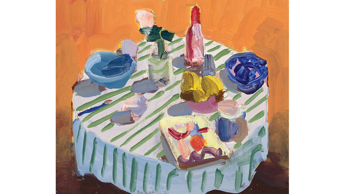 Striped table cloth and book, 2021, oil on board, 25 x 30 cm, courtesy the artist and Nicholas Thompson Gallery