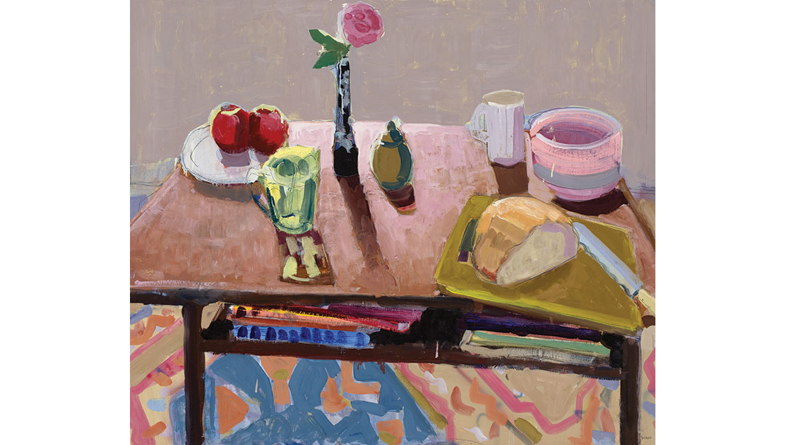 Two apples, 2021, oil on board, 100 x 122 cm, courtesy the artist and Nicholas Thompson Gallery