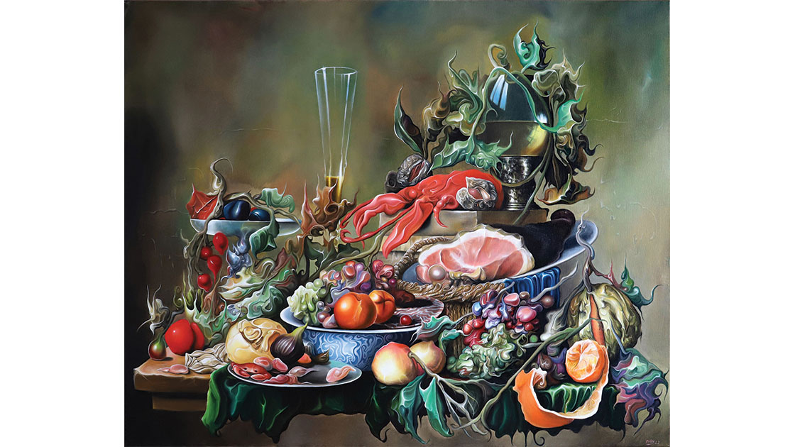 """"""" Food Pyramid C.1652,"""" 2021, oil on canvas, 100 x 120cm, courtesy the artist and Despard Gallery"""