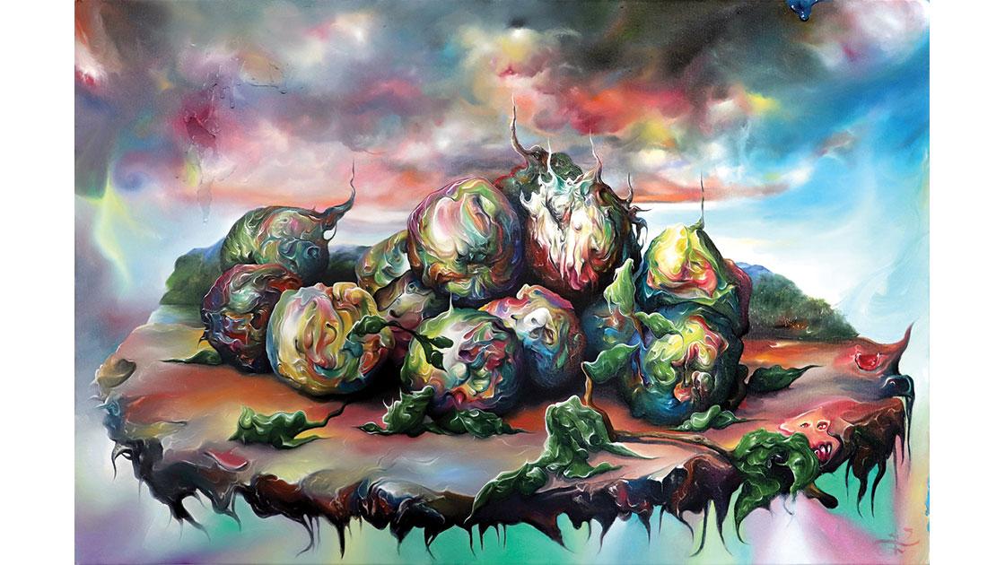 """""""Bad algorithms,"""" 2021, oil & acrylic on canvas, 61 x 92 cm, courtesy the artist and Despard Gallery"""
