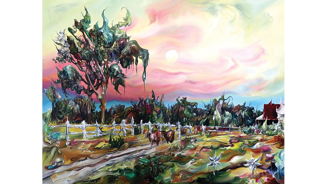 """""""Moonrise over Tutankhamen's Farm,"""" 2021, oil & acrylic on canvas, 76 x 101 cm, courtesy the artist and Despard Gallery"""