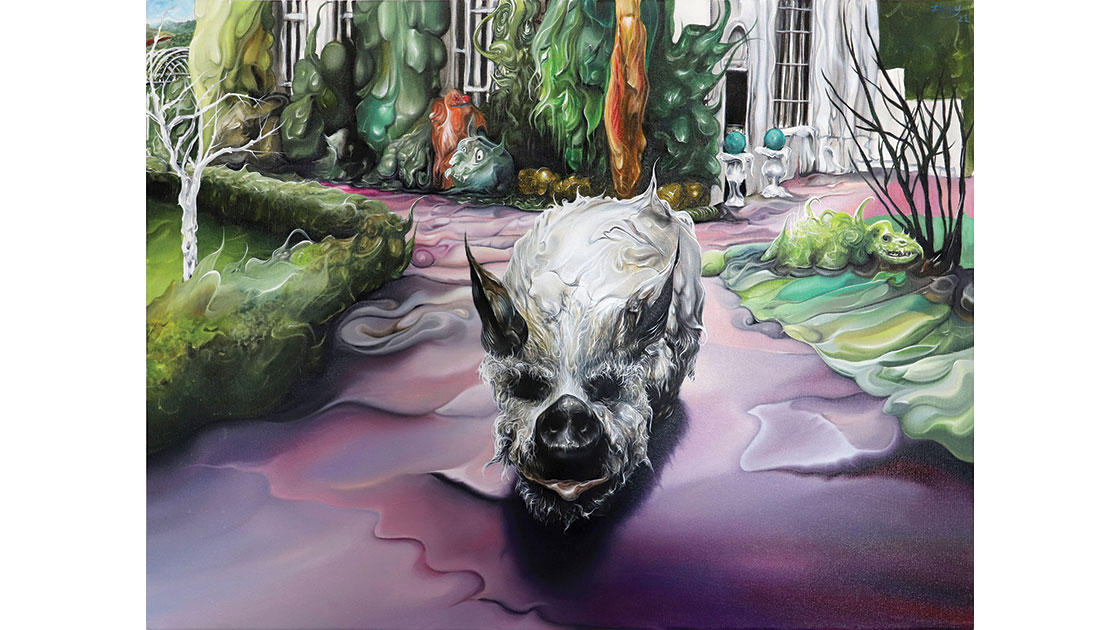 """""""Stockhausen (As cunning as a brick house pig),"""" 2021, oil & acrylic on canvas, 60 x 80 cm, courtesy the artist and Despard Gallery"""