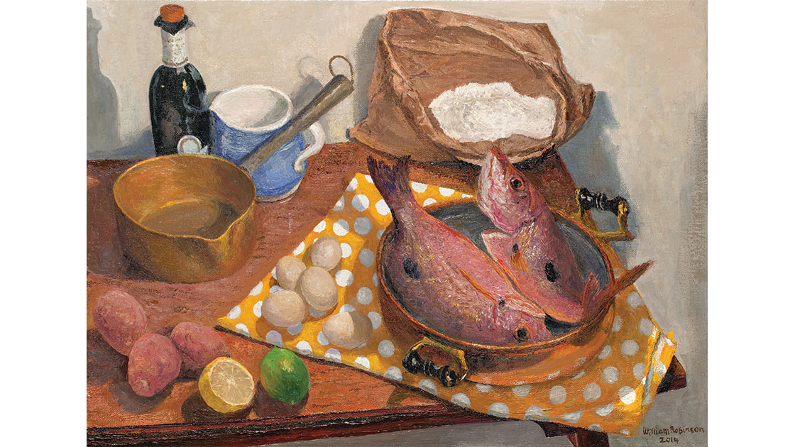 """""""Still life with Moses perch,"""" 2014, oil on linen, 40 x 65 cm, courtesy the artist, QUT William Robinson Gallery, Philip Bacon Galleries"""