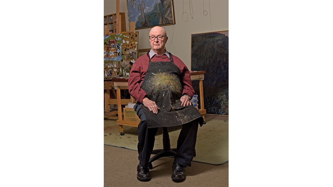 Robinson in his studio, photographed by Mick Richards