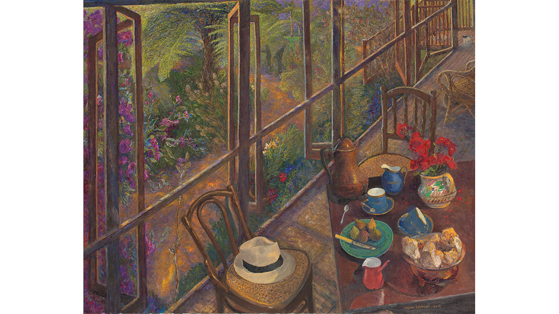 """""""Shaded garden and morning coffee,"""" 2016, oil on linen, 97 x 122 cm, courtesy the artist, QUT William Robinson Gallery, Philip Bacon Galleries"""