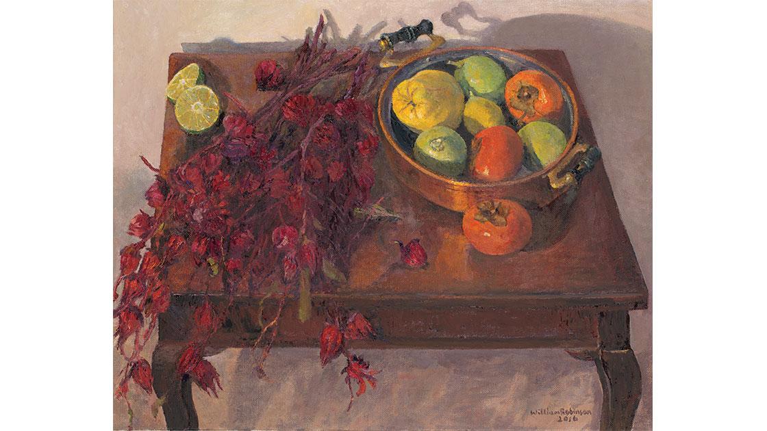 """Rosellas,"" 2015, oil on linen, 41 x 51 cm, courtesy the artist, QUT William Robinson Gallery, Philip Bacon Galleries"