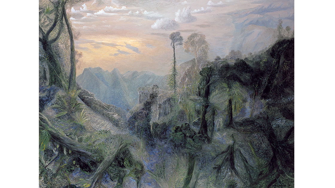 """""""The sea with morning sun from Springbrook,"""" 1996, oil on linen, 138 x 183 cm, courtesy the artist, QUT William Robinson Gallery, Philip Bacon Galleries"""