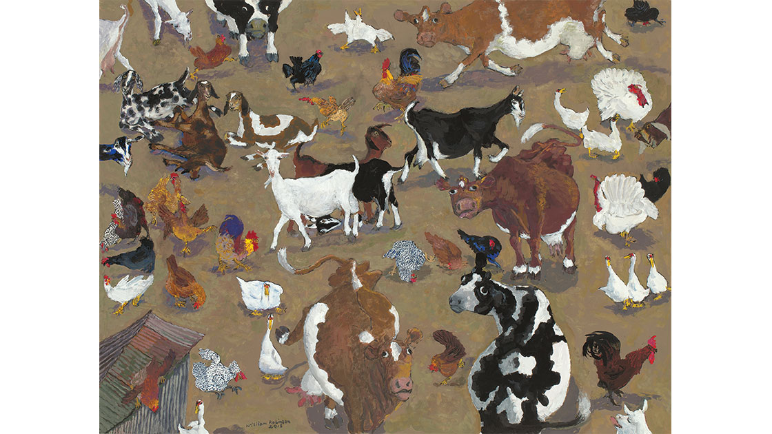 """""""Farmyard with corner shed,"""" 2016, gouache on paper, 46 x 61 cm, courtesy the artist, QUT William Robinson Gallery, Philip Bacon Galleries"""