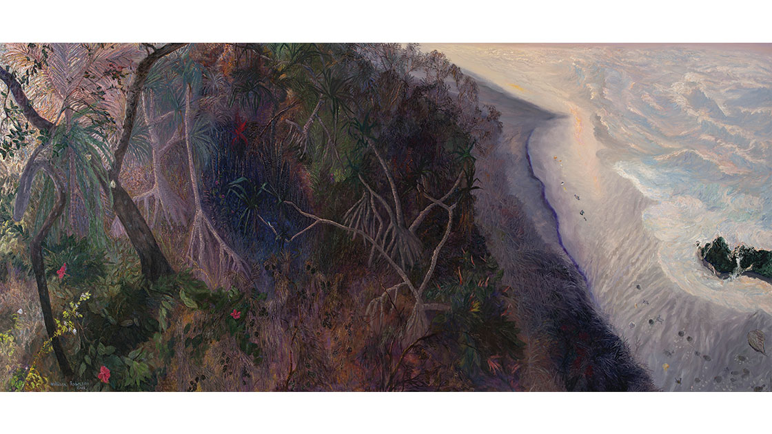 """""""Evening landscape with pandanus,"""" 2006, oil on linen, 110 x 247 cm, courtesy the artist, QUT William Robinson Gallery and Philip Bacon Galleries"""