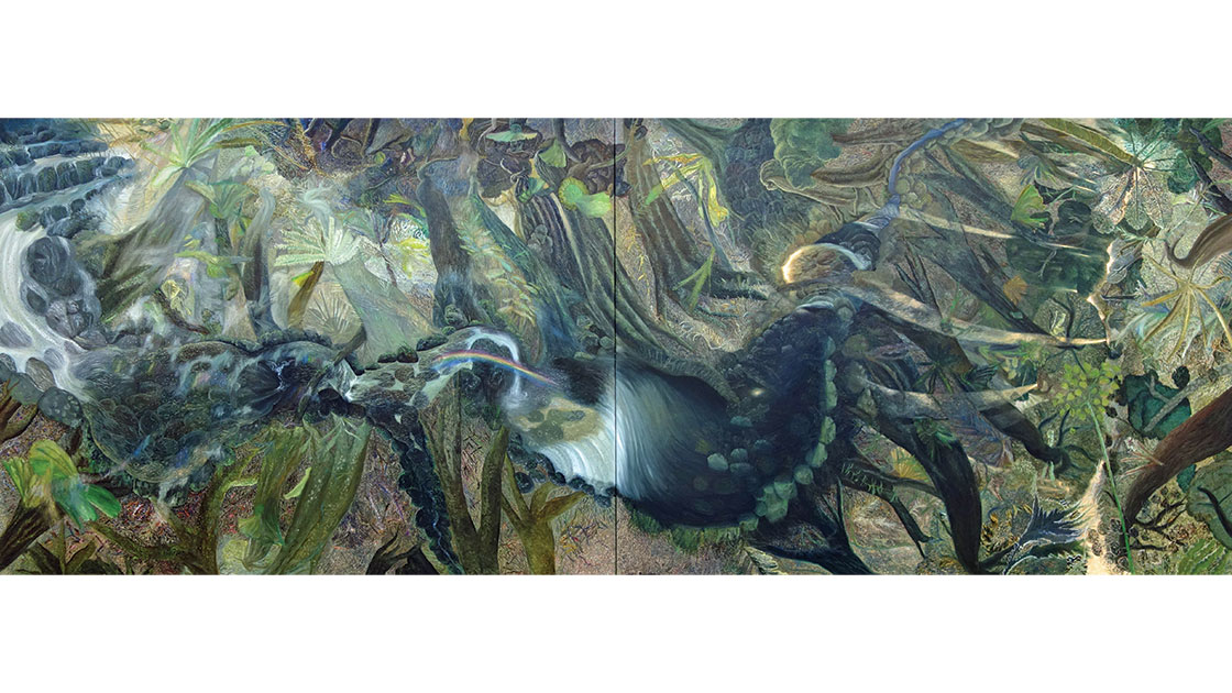 """William Robinson, """"The Rainforest,"""" 1990, oil on canvas, 188 x 492.5 cm, collection of HOTA Gallery, acquired with funds from Gold Coasts business and art loving community, 1991"""