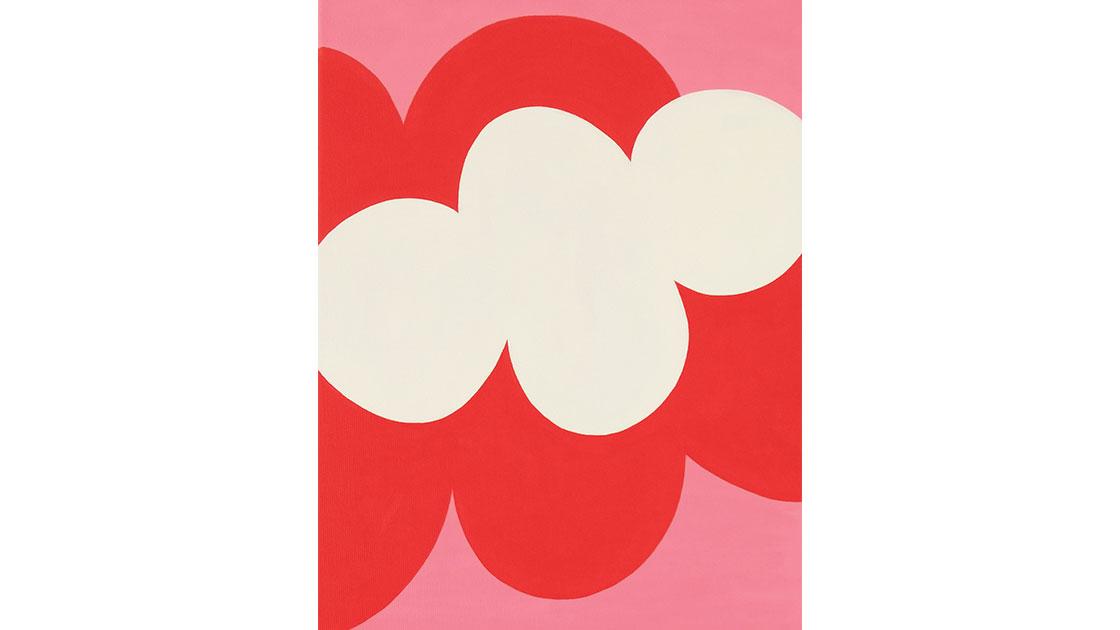 """Blommor i närbild (Flower close-ups), Rosa (Pink),"" 2021, acrylic on canvas, 30 x 40cm, courtesy MARS Gallery"