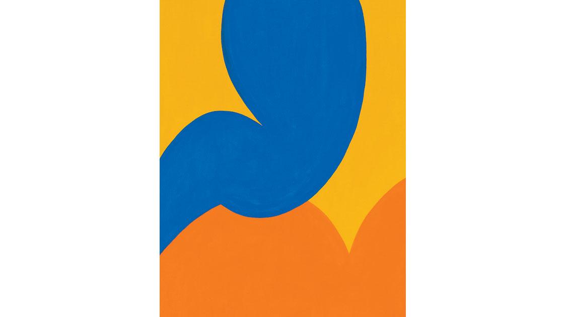 """Blommor i närbild (Flower close-ups), Gul (Yellow),"" 2021, acrylic on canvas, 30 x 40cm, courtesy MARS Gallery"