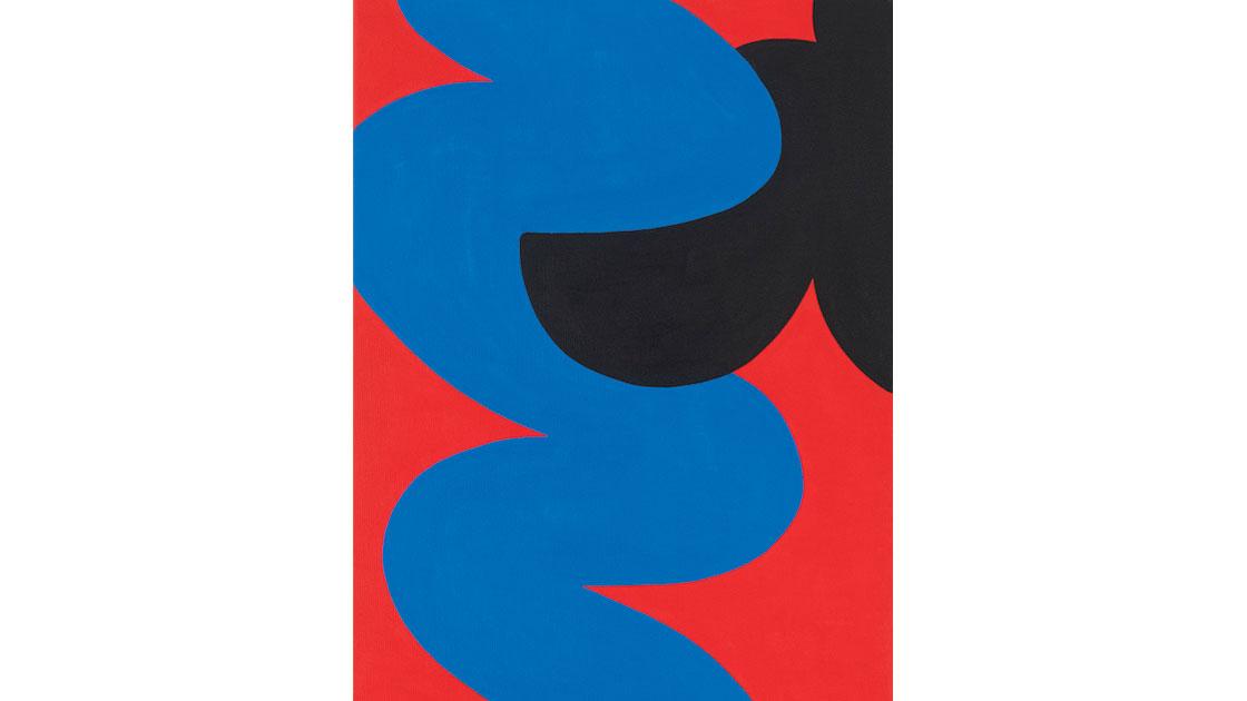 """""""Blommor i närbild (Flower close-ups), Röd (Red),"""" 2021, acrylic on canvas, 30 x 40cm, courtesy MARS Gallery"""