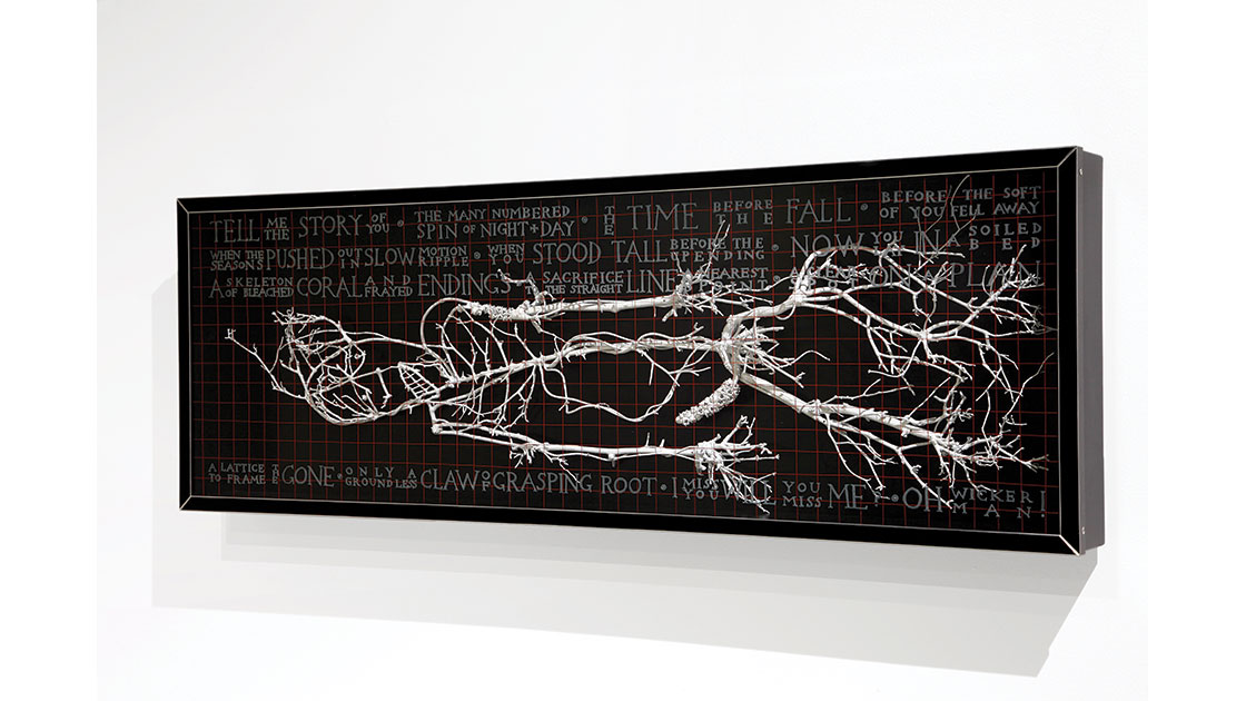 Felled, 2021, plywood, glass, acrylic paint, found organic material, 36 x 96 x 9 cm, courtesy the artist and Despard Gallery
