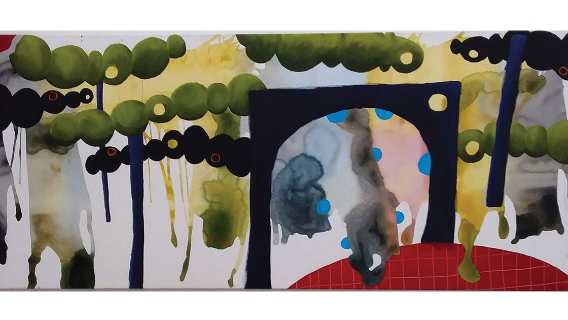 Untitled, 2020, acrylic on polyester,  87 x 198 cm, courtesy the artist and Rogue Pop-up Gallery