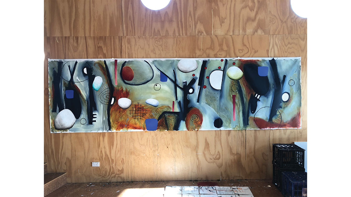 Untitled, 2020, acrylic on unstretched polyester,  100 x 400 cm, pictured in-studio, courtesy the artist