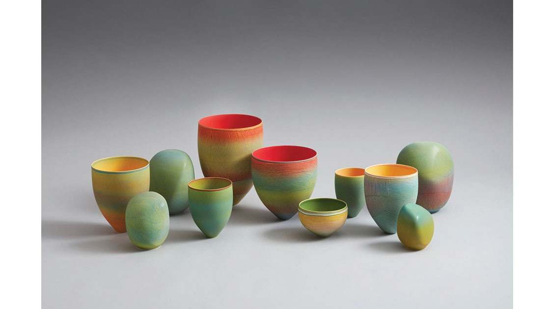 Breakaway Series II –Water Lillies Installation, 2021, porcelain marbles and vessels, 28h –10h cm, photographed by Rob Frith of Acorn Photography, courtesy Linton & Kay Galleries