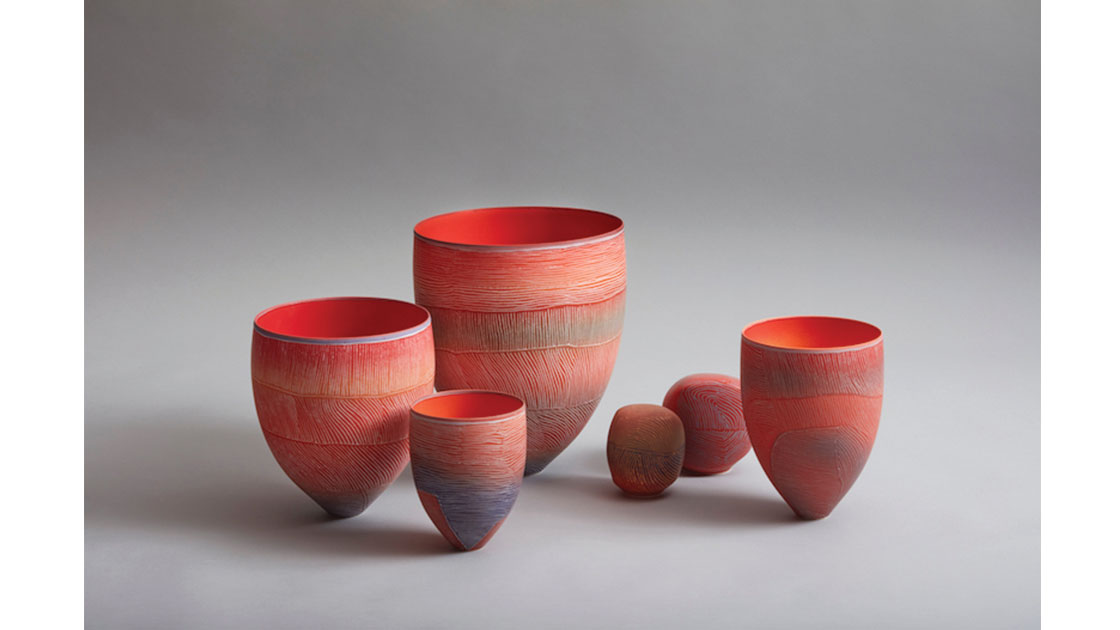 Breakaway Series II –Bush Tomato Installation, 2021, porcelain marbles and vessels, 34 h 12 h cm, photographed by  Rob Frith of Acorn Photography, courtesy Linton & Kay Galleries