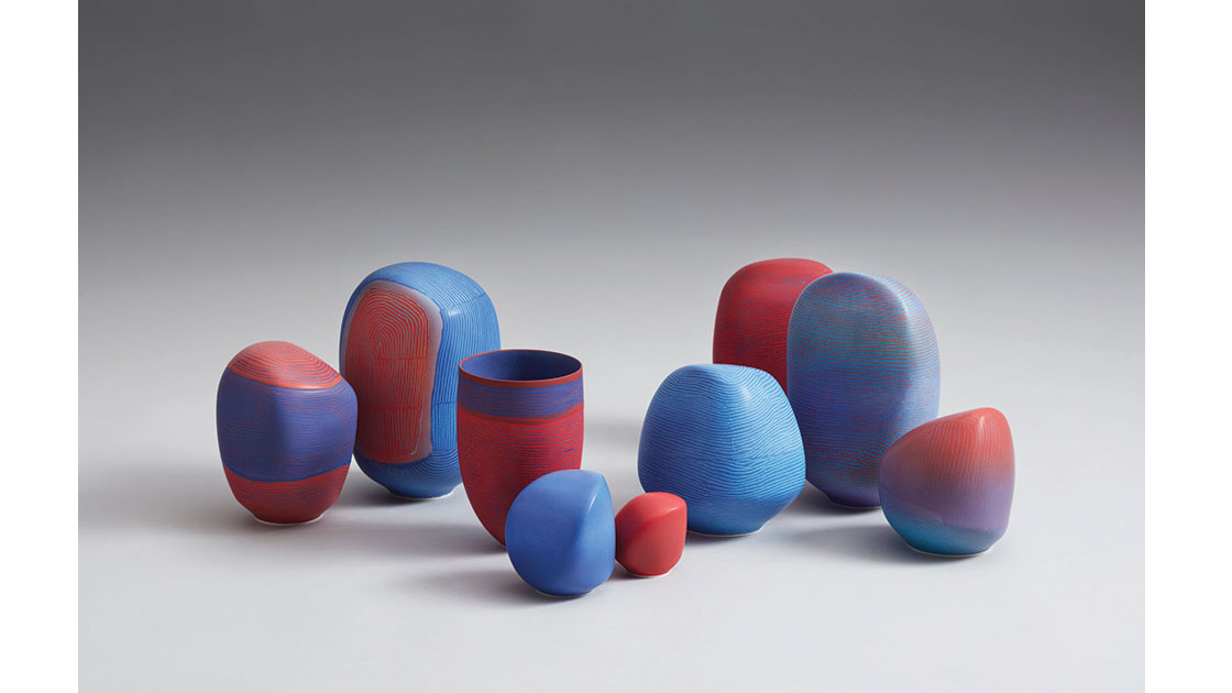 Breakaway Series II –Opthalmia Range Installation, 2021, porcelain marbles and vessel, 24h –7.5h cm, photographed by Rob Frith of Acorn Photography, courtesy Linton & Kay Galleries