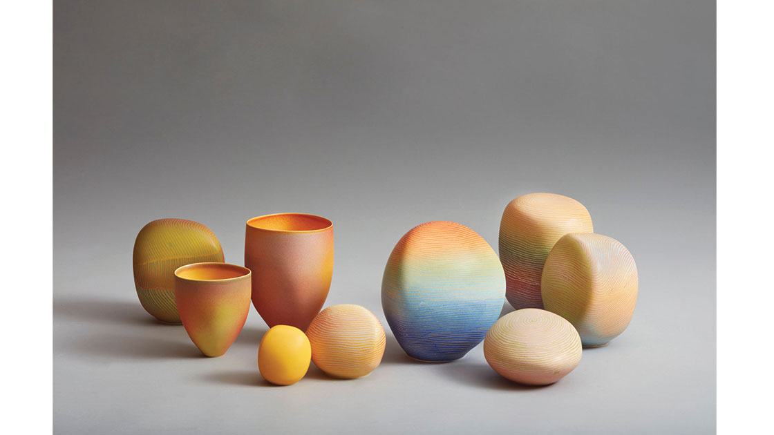 Breakaway Series II –Dawn Glow Installation, 2021, porcelain marbles and vessels, 21h - 8.5h cm, photographed by Rob Frith of Acorn Photography, courtesy Linton & Kay Galleries