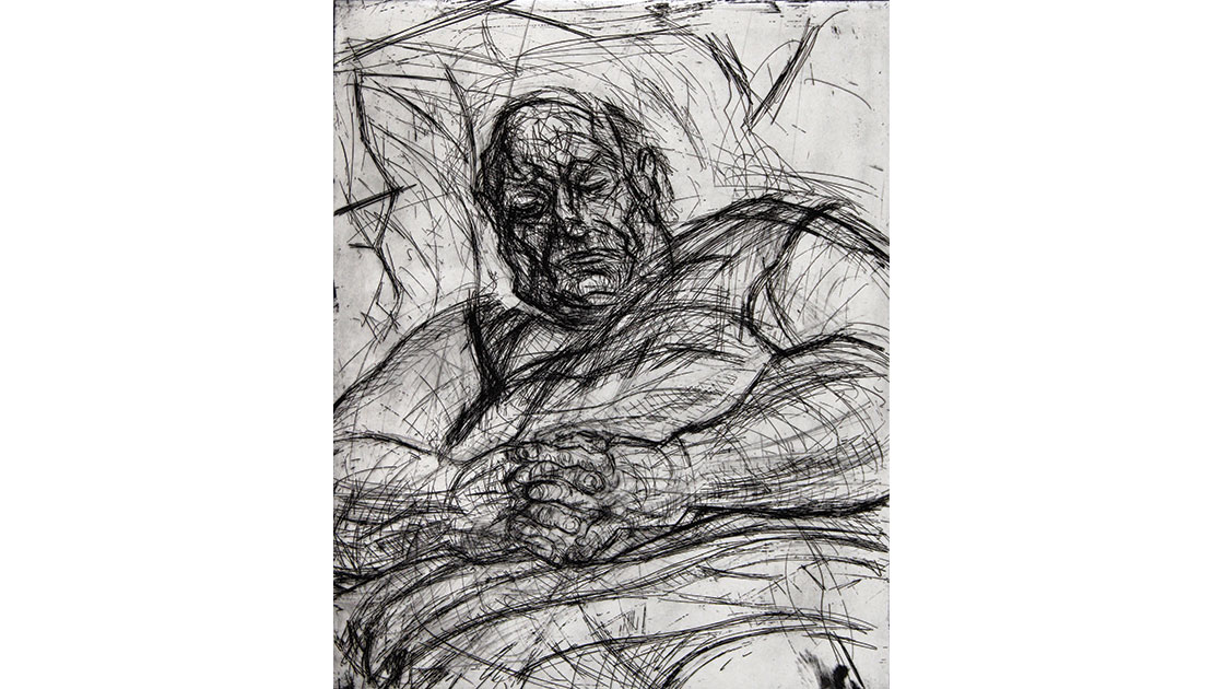 David Fairbairn,T.J.K. No 10, aquatint, drypoint, etching, 35 x 29 cm, courtesy the artist and Queenscliff Gallery