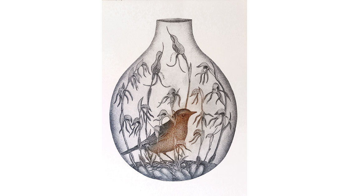 Kati Thamo,The Garden Inside,aquatint, etching, 37.5 x 28 cm, courtesy the artist and Queenscliff Gallery